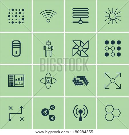 Set Of 16 Machine Learning Icons. Includes Lightness Mode, Mainframe, Information Base And Other Symbols. Beautiful Design Elements.