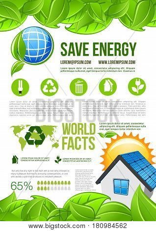 Ecology conservation and green energy consumption vector infographics template. Graph elements and diagrams on water and solar energy use for recycling and nature saving or protection statistics