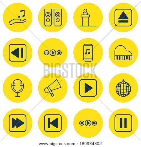 Set Of 16 Audio Icons. Includes Mike, Dance Club, Extract Device And Other Symbols. Beautiful Design Elements.