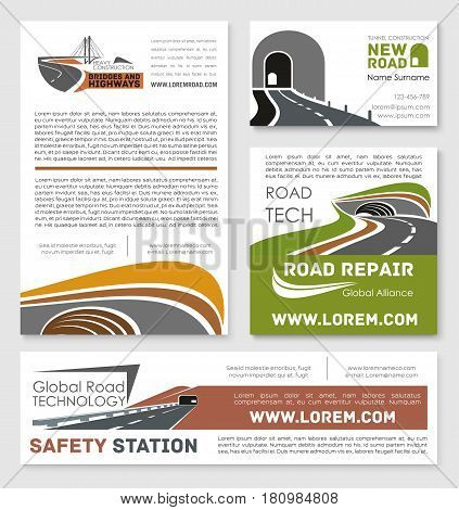 Road safety, repair and construction service company templates. Vector design of highways and motorway bridge building, transport tunneling pathway and transportation technology corporation