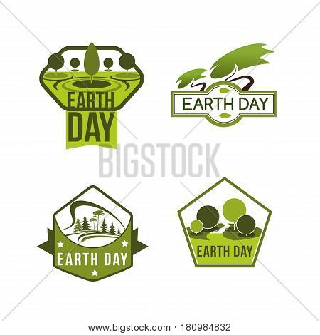 Earth Day vector icons set for green nature protection and save planet or ecology conservation concept. Design of trees, eco parks and woodland squares. Symbols of environment and ecosystem protection