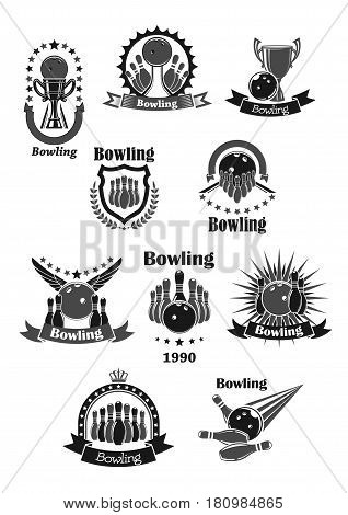 Bowling championship contest and game tournament cup awards design. Vector template icons set of bowling ball and skittle pins, winner trophy laurel wreath ribbon with stars and champion prize goblet