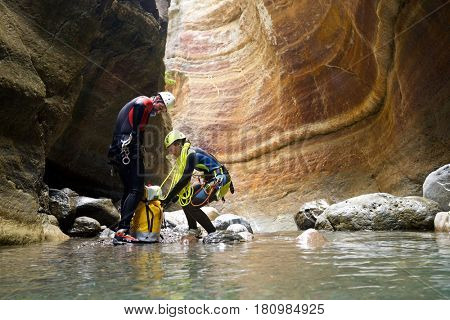 Canyoning in Gorgol Canyon, Tena Valley, Pyrenees, Huesca Province, Aragon, Spain.