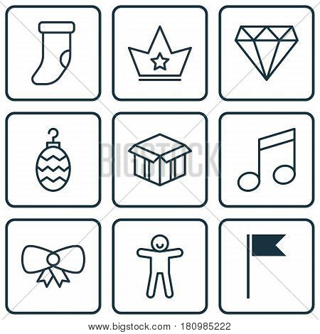Set Of 9 Celebration Icons. Includes Butterfly Knot, Corona, Crotchets And Other Symbols. Beautiful Design Elements.