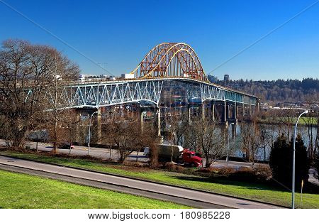 Pattullo Bridge  over the Fraser River between New Westminster and Surrey British Columbia