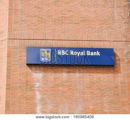 April 10 2017-RBC Royal Bank Logo outside Oakridge Center Vancouver,BC Canada