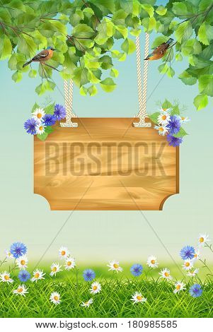 Vector summer landscape with signboard two birds grass flowers tree branches. Usable for any kind of spring or summer event party concert festival poster or flyer template