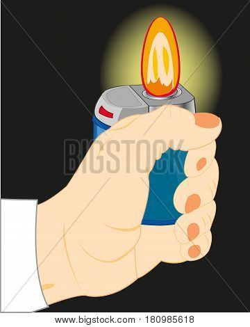 Hand of the person with alight cigarette lighter in the dark