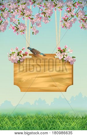 Vector spring landscape with signboard, bird, grass, flowers, blossoming tree branches. Usable for any kind of spring event, party, concert, festival poster or flyer template