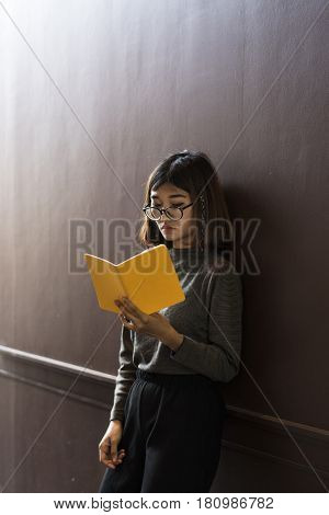 Girl Glasses Standing Reading Book