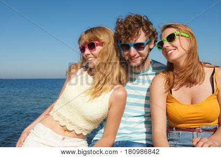 Group Friends Boy Two Girls Having Fun Outdoor