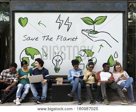 Diverse students sitting with environmental graphic background