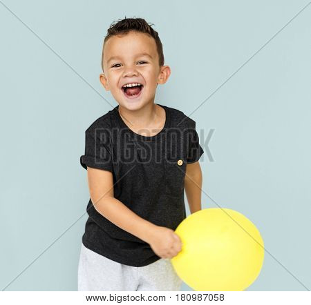 Little Boy with Yellow Balloon Studio Portrait