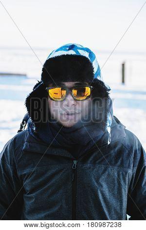 Close up a man in winter, in winter wear