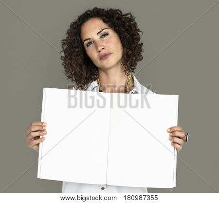 Caucasian Lady Holding Open Notebook