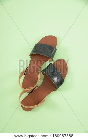 female shoes-green background