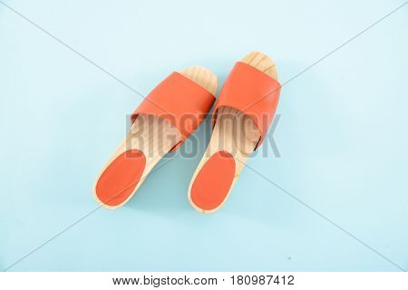 female wooden shoes-blue background