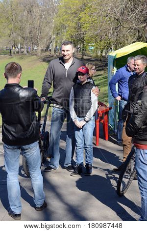 Kiev, Ukraine, April 9, 2017. Mayor of Kiev Vitali Klitschko meets with residents of the district