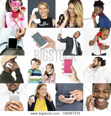 Set of Diverse People Using Telephone Studio Collage