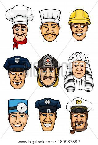 Profession set. Doctor and cook, policeman and fireman, builder, judge snf police officer, taxi driver and sea captain cartoon icon for professional occupation design