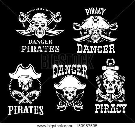 Jolly Roger pirate vector icons on black flag background. Piracy symbols of skeleton skull in tricorn or tricorne captain sailor hat and crossed bones, swords or sabers, ship chains and anchor ropes