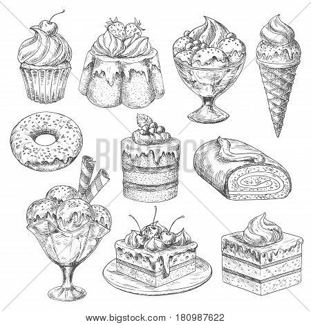 Bakery desserts sketch vector icons. Pastry cakes and biscuits, pudding and cupcakes or chocolate torte muffins and ice cream. Cheesecake or brownie confectionery and cookies for cafeteria menu