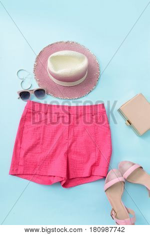 Fashion accessories. Summer outfit, accessories set.