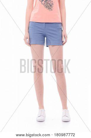 Woman long sexy legs wearing short shorts