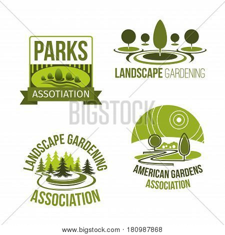 Landscape and gardening company vector icons set for garden landscaping design and park trees and plants planting service. Isolated templates of outdoor nature village or urban and city greenery