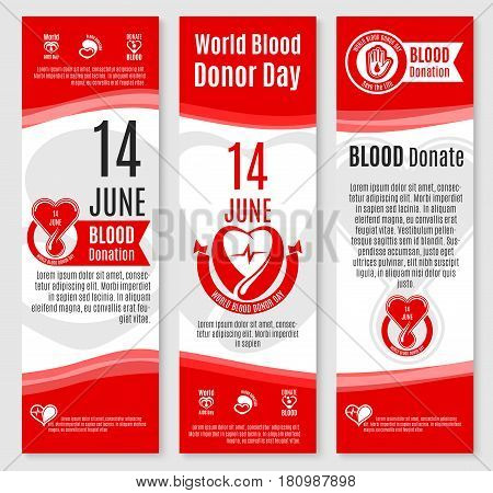 Blood donation vector banners for World Donor Day social volunteer charity event. 14 June design of blood and helping hands or heart for donorship fund center and medical group or hospital