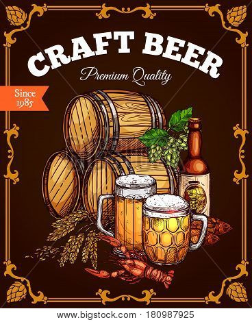 Beer pub poster. Vector design of craft or draught beer wood barrels, ale mugs and bottles for brewery or Oktoberfest bar label. Symbols of hop and wheat, dried fish kipper or lobster snacks on table