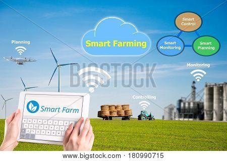 Smart farming Hi-Tech Agriculture concept photo image