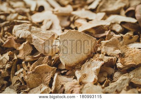 Dried Herbal Galangal herb sliced use for alternative medical.