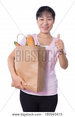 Asian Woman Carrying Shopping Bag With Groceries