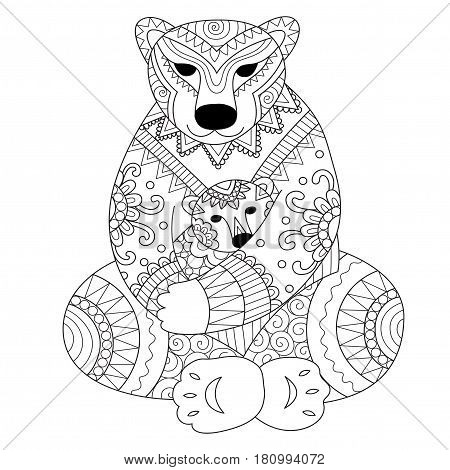 Polar bear mother cuddling her son in her arms zendoodle design for t - shirt design,card,adult coloring book page.. Vector illustration