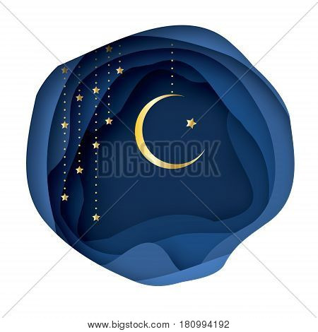 Ramadan Kareem Greeting card with arabic Gold Symbol of Islam - Crescent Moon. Paper cut Desert Cave Landscape. Garland. Holy month of muslim. Islamic festival celebration vector background.