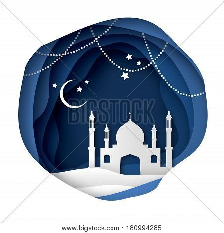 Ramadan Kareem Greeting card with arabic White Origami Mosque. Paper cut Desert Cave Landscape. Holy month of muslim. Symbol of Islam. Crescent Moon. Garland. Islamic festival celebration vector.