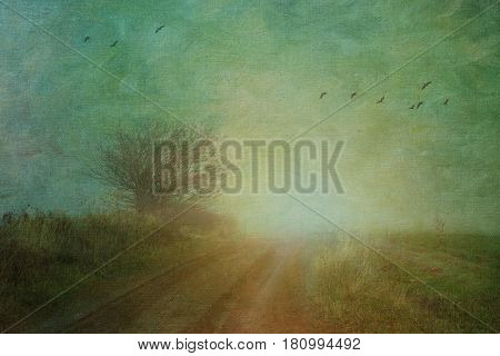 Rural landscape shrouded in fog with added texture effect.