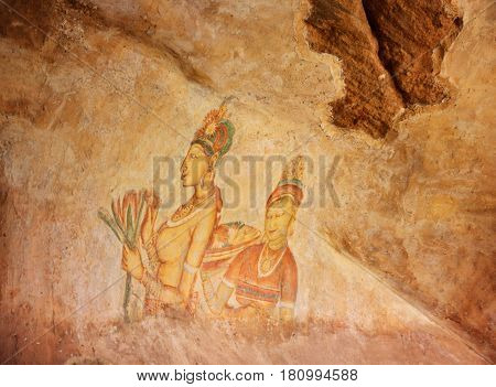 Ancient fresco in the cave temple Sigiriya Sri Lanka horizontal view