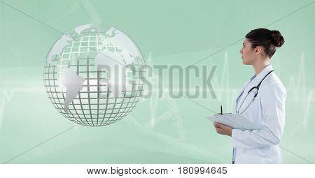 Digital composite of Doctor (woman) looking 3D metallic earth