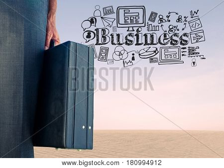 Digital composite of Businessman with briefcase and Creativity text with drawings graphics