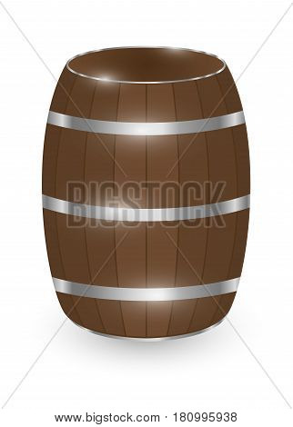 real wood barrel on a white background