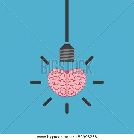 Brain, Lightbulb On Blue