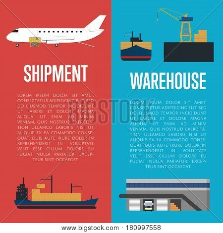 Shipment and warehouse banners vector illustration. Loading cargo jet airplane, crane shipment freight vessel. Warehouse logistics, worldwide delivery transportation, cargo shipment, freight terminal