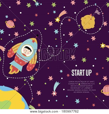 Start up space cartoon template. Spaceship with astronaut flying among outer space with stars and planets from earth to the moon vector illustration.