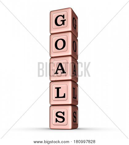 Goals Word Sign. Vertical Stack of Rose Gold Metallic Toy Blocks. 3D illustration isolated on white background.