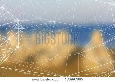 Abstract scientific blurred background with grid wireframe structure
