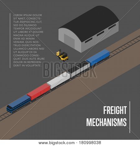 Freight mechanisms isometric banner vector illustration. Forklift truck loading freight train on railway warehouse terminal. Shipment logistics, delivery transportation service, freight storage