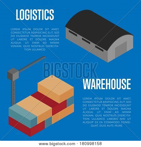 Warehouse logistics isometric banner vector illustration. Warehouse building terminal and cargo crane loading container icon. Shipment logistics, delivery transportation, shipping service concept
