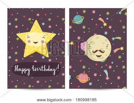 Happy birthday cartoon greeting card on space theme. Cute laughing star and smiling mustached Mercury surrounded comets and planets vector illustration. Bright invitation on childrens costumed party